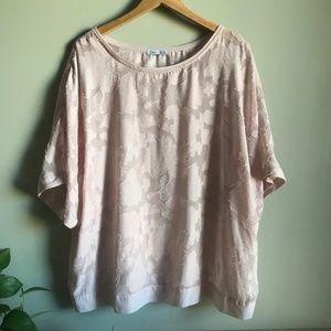 Dex Semi-Sheer Floral Blouse in Blush